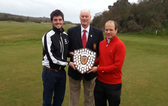 James Popham and Phil White with County President Brian Evans