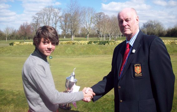 Under 14 Champion Joshua Higgs with SGU President Brian Evans