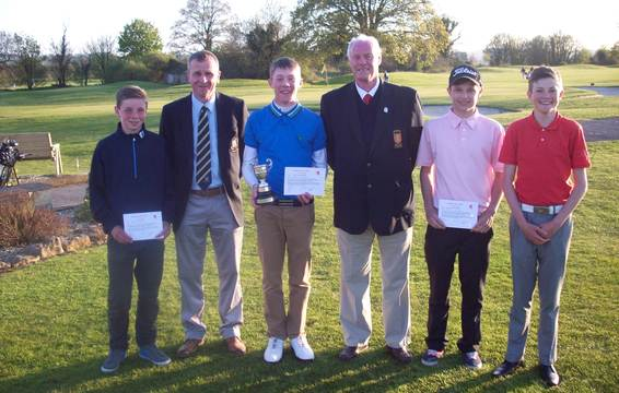 Junior Championship Prize Winners with Brian Evans and Farrington Park Captain Clive Stilwell